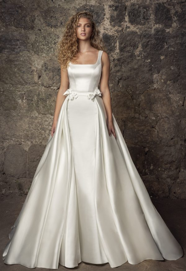 Sleeveless Satin Square Neck Mermaid Wedding Dress With Pearl Belt And Overskirt by Pnina Tornai - Image 2