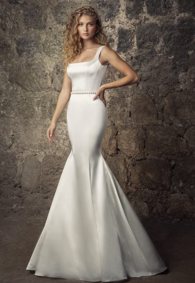 Sleeveless Satin Square Neck Mermaid Wedding Dress With Pearl Belt And Overskirt by Pnina Tornai
