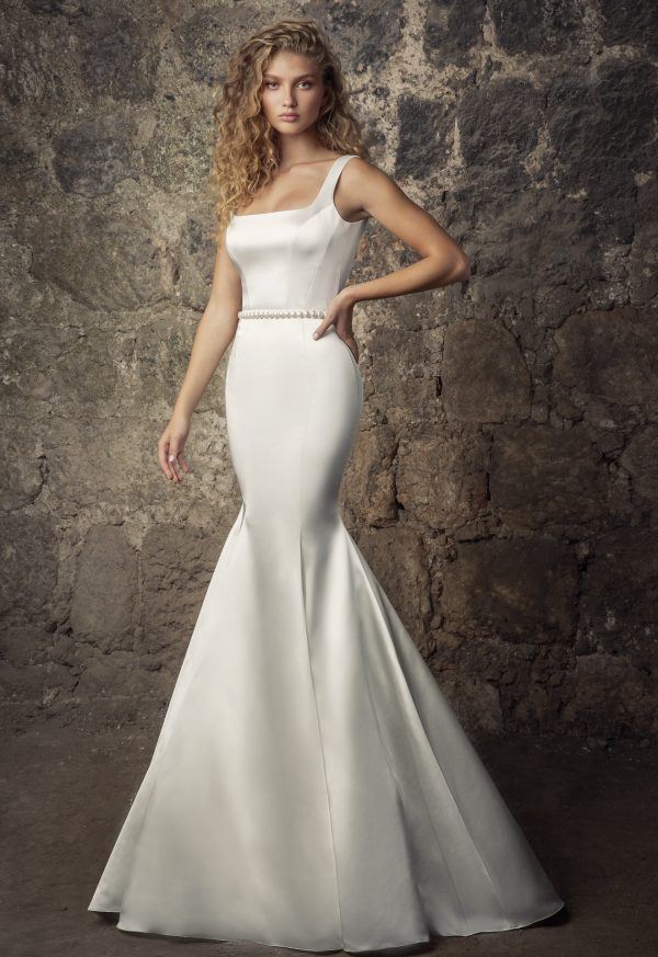 Sleeveless Satin Square Neck Mermaid Wedding Dress With Pearl Belt And Overskirt by Pnina Tornai - Image 1