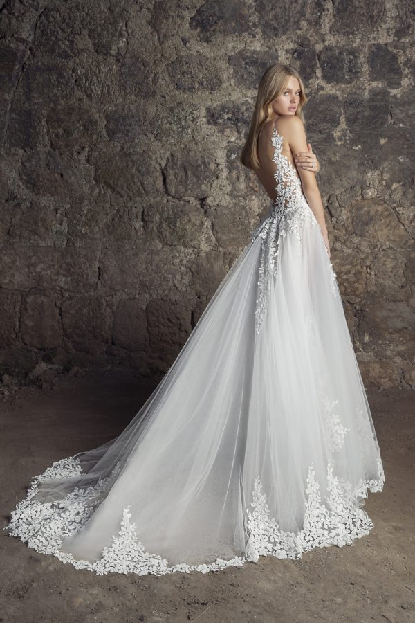 Sleeveless V-neck Lace A-line Wedding Dress With Sequin Floral Appliqués by Pnina Tornai - Image 2