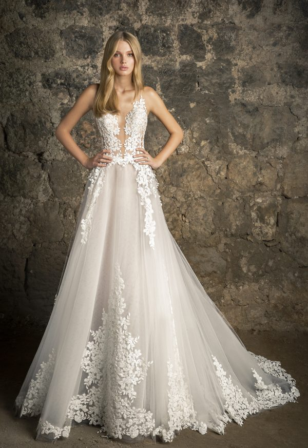 Sleeveless V-neck Lace A-line Wedding Dress With Sequin Floral Appliqués by Pnina Tornai - Image 1
