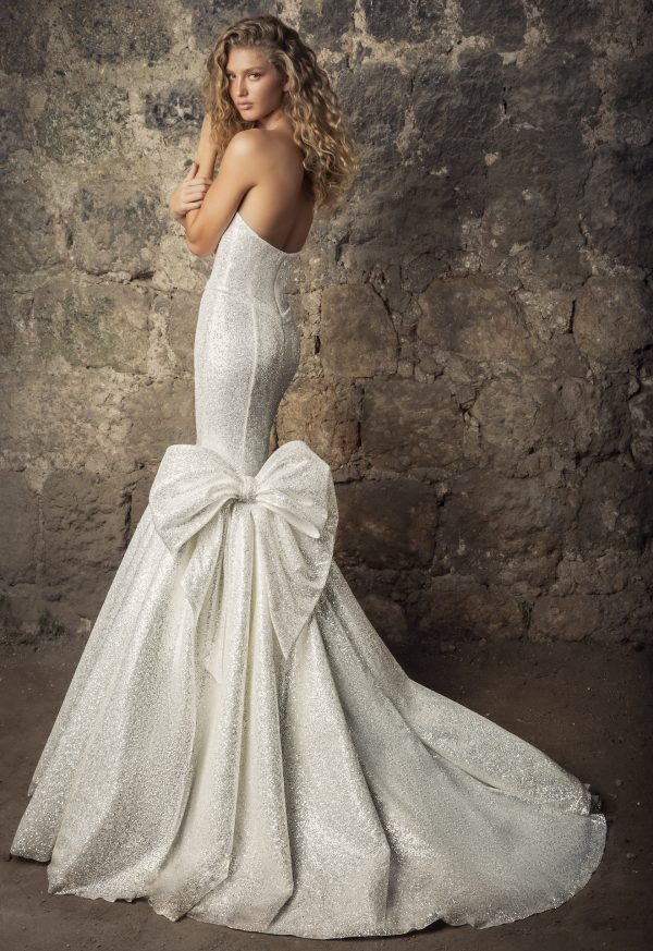 Strapless Sweetheart Neckline Glitter Mermaid Wedding Dress With Bow by Pnina Tornai - Image 2