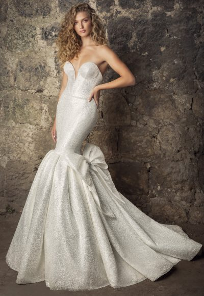 Strapless Sweetheart Neckline Glitter Mermaid Wedding Dress With Bow by Pnina Tornai