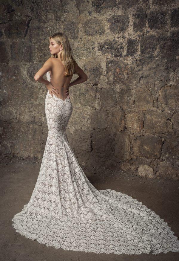 Strapless V-neck Scalloped Lace Mermaid Wedding Dress by Pnina Tornai - Image 2