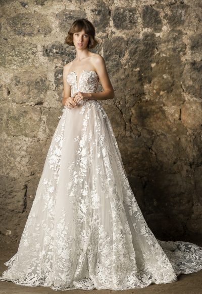 Strapless V-neckline Lace A-line Wedding Dress by Pnina Tornai