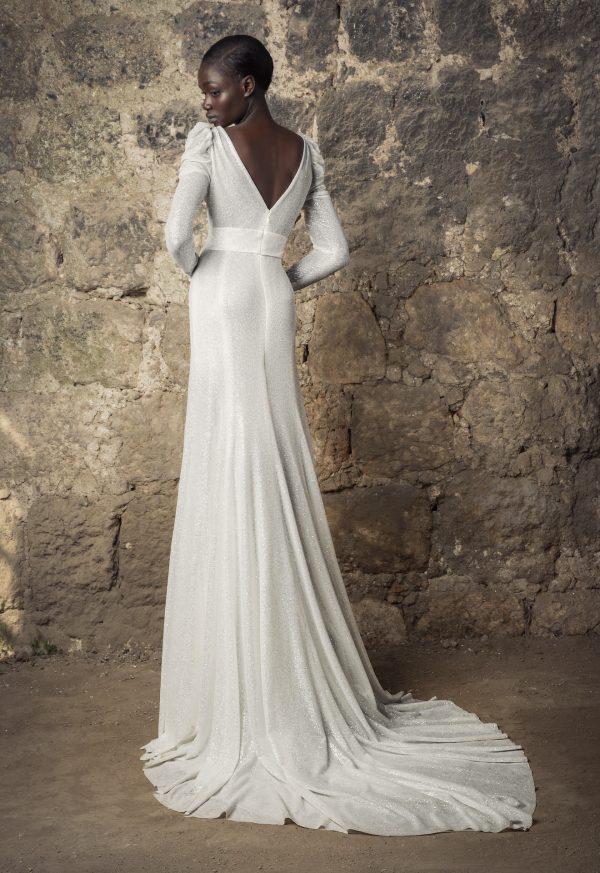 V-neck Draped Long Sleeve Empire Waist Glitter Sheath Wedding Dress by Pnina Tornai - Image 2