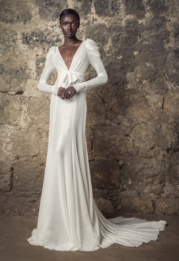 V-neck Draped Long Sleeve Empire Waist Glitter Sheath Wedding Dress by Pnina Tornai - Image 1