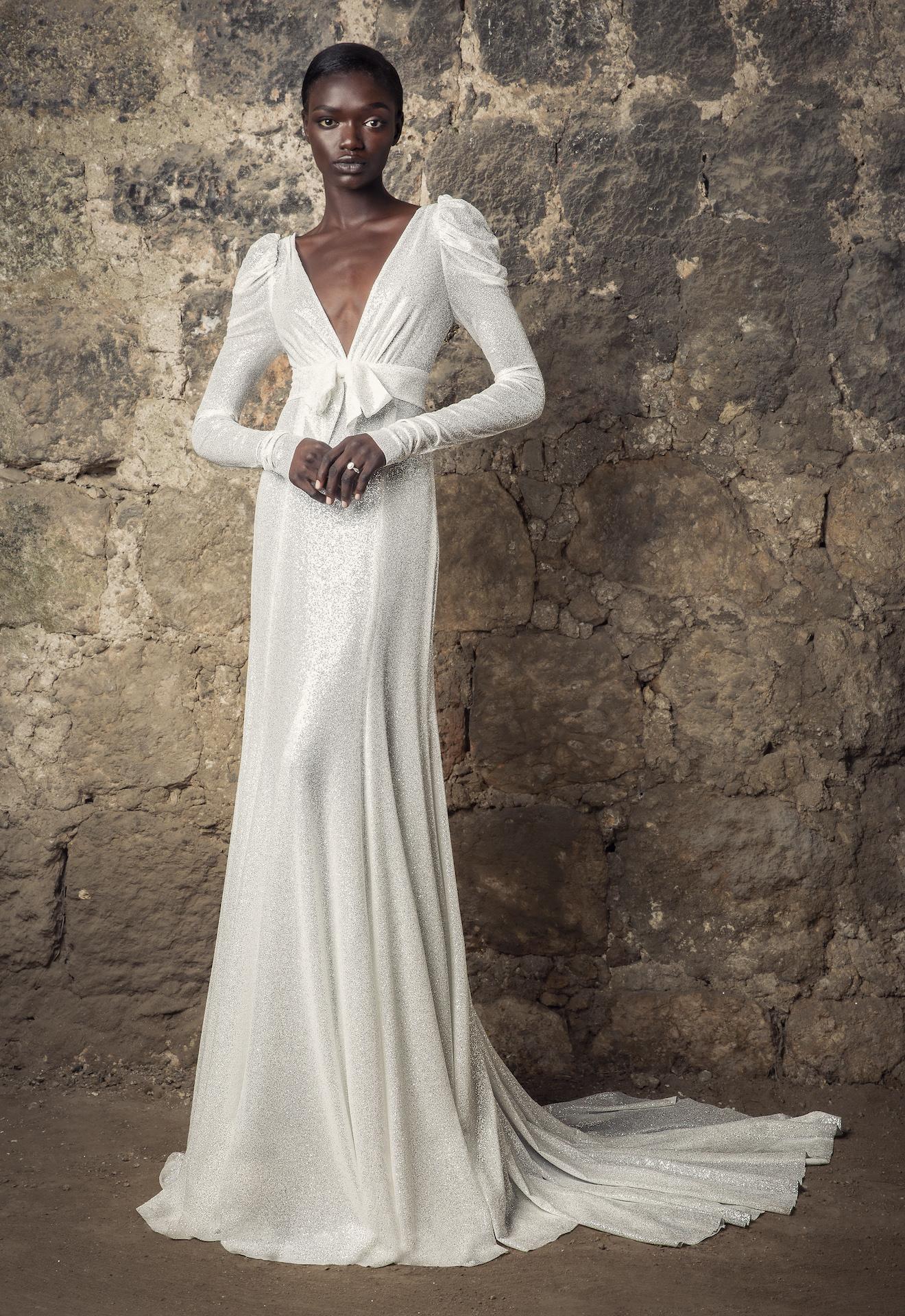 V neck Draped Long Sleeve Empire Waist Glitter Sheath Wedding Dress