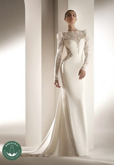 Crepe Mermaid Wedding Dress With Puff Sleeves by Pronovias