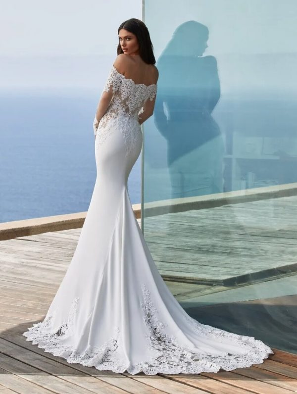 Long-sleeved Mermaid Wedding Dress In Crepe With Wraparound Neckline by Pronovias - Image 2