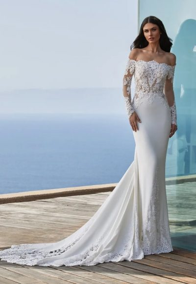 Long-sleeved Mermaid Wedding Dress In Crepe With Wraparound Neckline by Pronovias