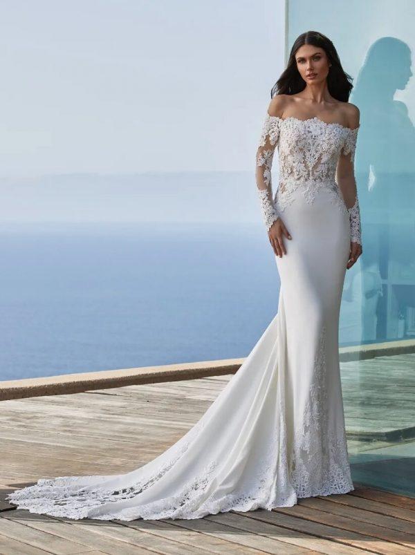 Long-sleeved Mermaid Wedding Dress In Crepe With Wraparound Neckline by Pronovias - Image 1