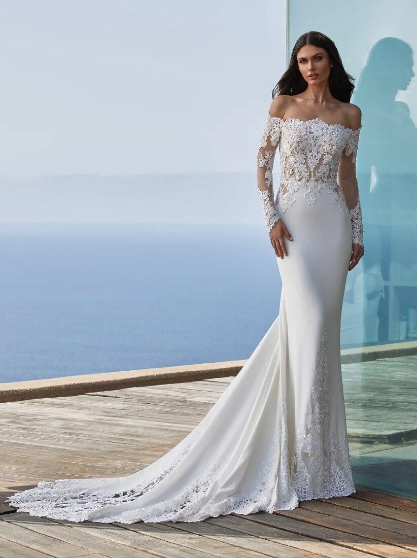 Long sleeved Mermaid Wedding Dress In Crepe With Wraparound ...