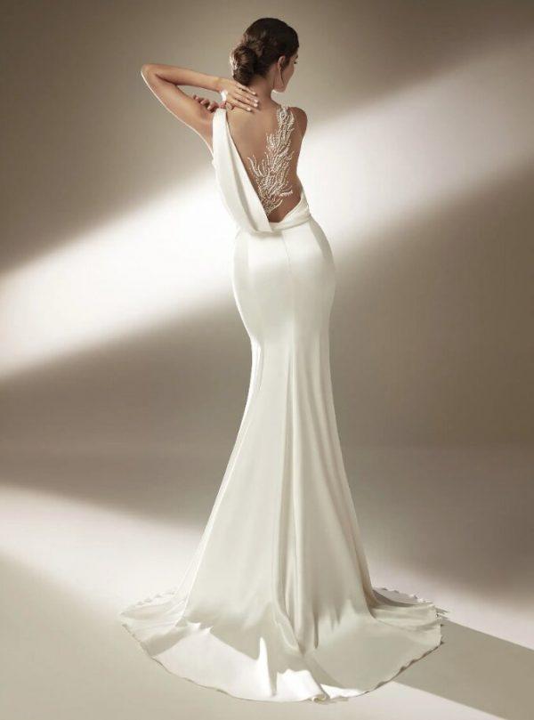 Mermaid Wedding Dress With Asymmetric Neckline And Tattoo-effect Back by Pronovias - Image 2