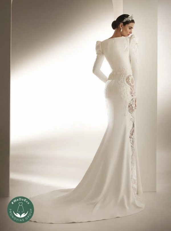 V-neck Mermaid Wedding Dress In Crepe With Closed Back by Pronovias - Image 2