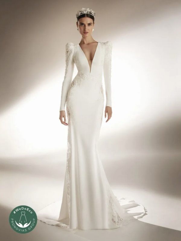V-neck Mermaid Wedding Dress In Crepe With Closed Back by Pronovias - Image 1
