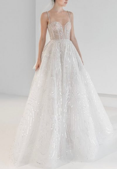 Spaghetti Strap Sequin A-line Wedding Dress by Reem Acra