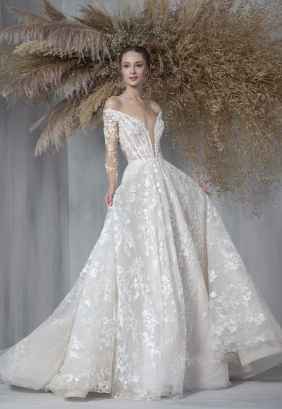 Long Sleeve Embroidered Ball Gown Wedding Dress by Tony Ward