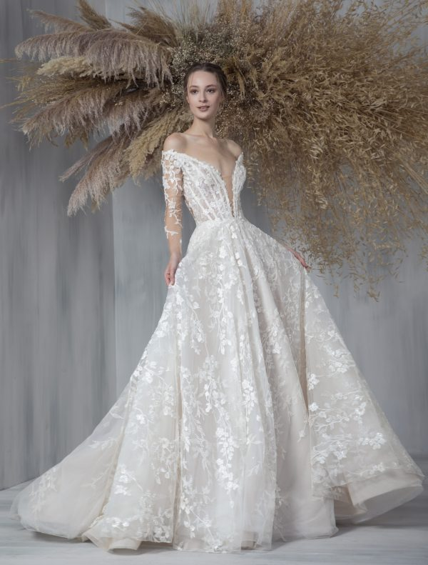 Long Sleeve Embroidered Ball Gown Wedding Dress by Tony Ward - Image 1