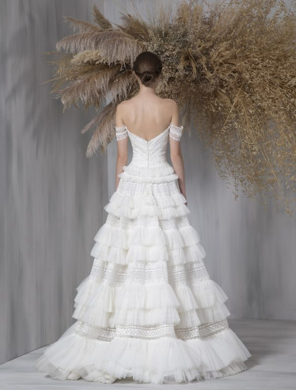 Off The Shoulder A-line Ruffled Tulle Skirt Wedding Dress by Tony Ward - Image 2