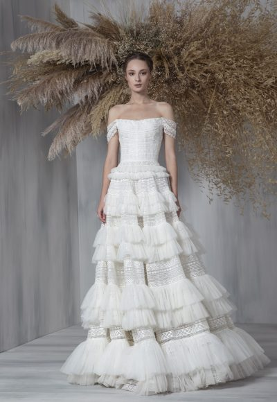 Off The Shoulder A-line Ruffled Tulle Skirt Wedding Dress by Tony Ward
