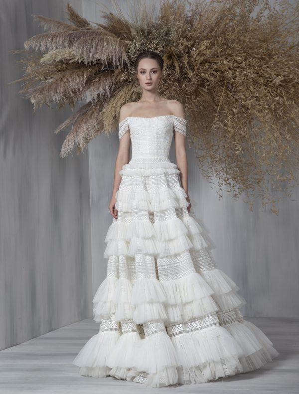 Off The Shoulder A-line Ruffled Tulle Skirt Wedding Dress by Tony Ward - Image 1