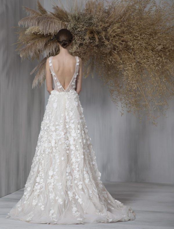 Sleeveless Deep V-neck Illusion Neckline A-line Wedding Dress by Tony Ward - Image 2