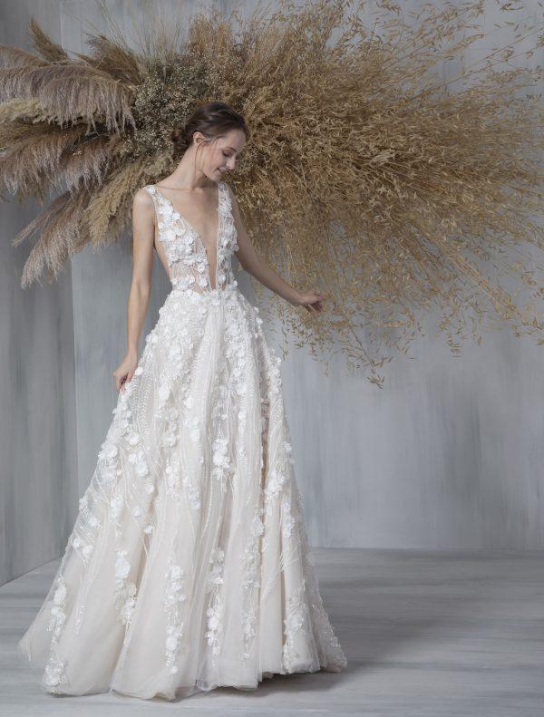 Sleeveless Deep V-neck Illusion Neckline A-line Wedding Dress by Tony Ward - Image 1