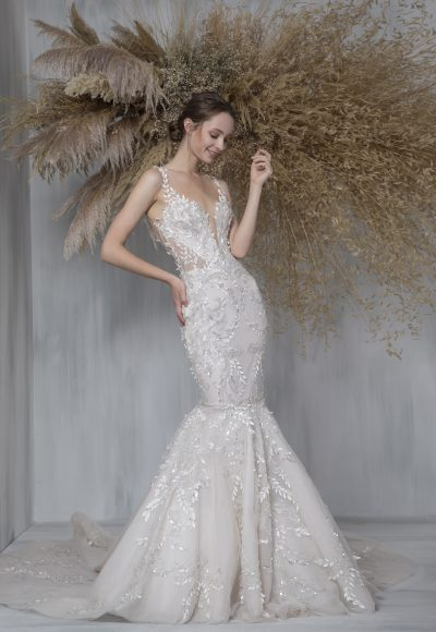 Sleeveless V-neck Illusion Neckline Mermaid Wedding Dress by Tony Ward