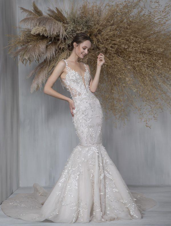 Sleeveless V-neck Illusion Neckline Mermaid Wedding Dress by Tony Ward - Image 1