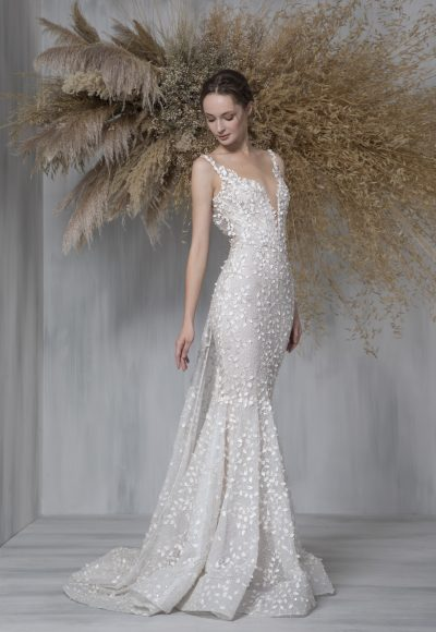 Spaghetti Strap Illusion Neckline Mermaid Wedding Dress by Tony Ward