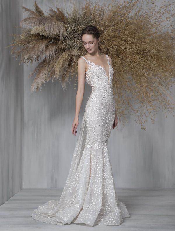 Spaghetti Strap Illusion Neckline Mermaid Wedding Dress by Tony Ward - Image 1