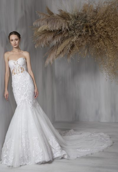 Strapless Sweetheart Lace Mermaid Tulle Skirt Wedding Dress by Tony Ward