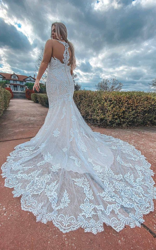 Lace Halter Neckline Fit And Flare Lace Wedding Dress With Back Detail by Stella York - Image 3