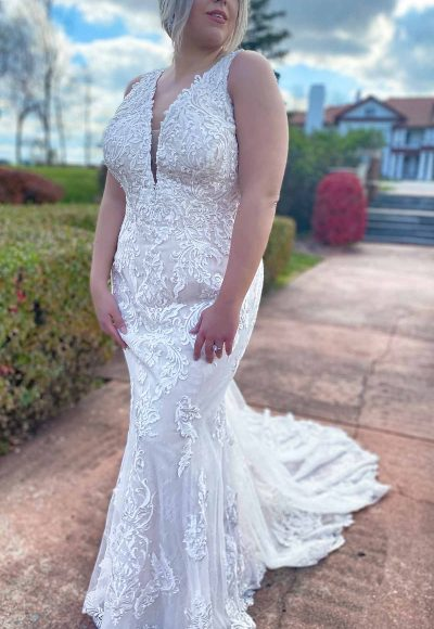 Lace Halter Neckline Fit And Flare Lace Wedding Dress With Back Detail by Stella York
