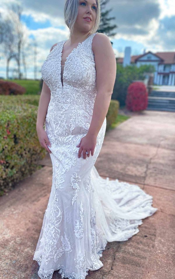 Lace Halter Neckline Fit And Flare Lace Wedding Dress With Back Detail by Stella York - Image 1
