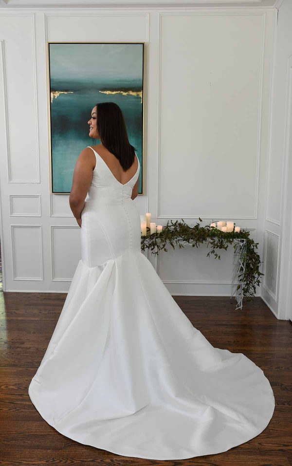 Fit And Flare Wedding Dress In Mikado by Essense of Australia - Image 2
