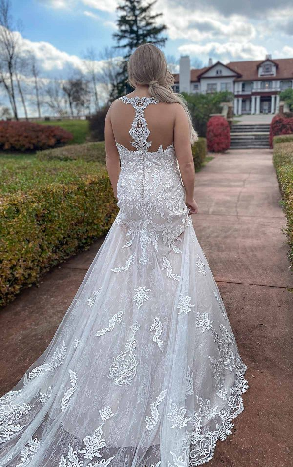 Lace Halter Neckline Fit And Flare Lace Wedding Dress With Back Detail by Stella York - Image 2