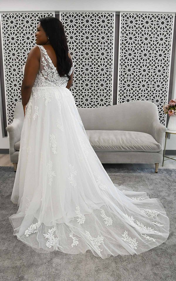 Boho Style Wedding Dress With Sheer Details by Stella York - Image 2