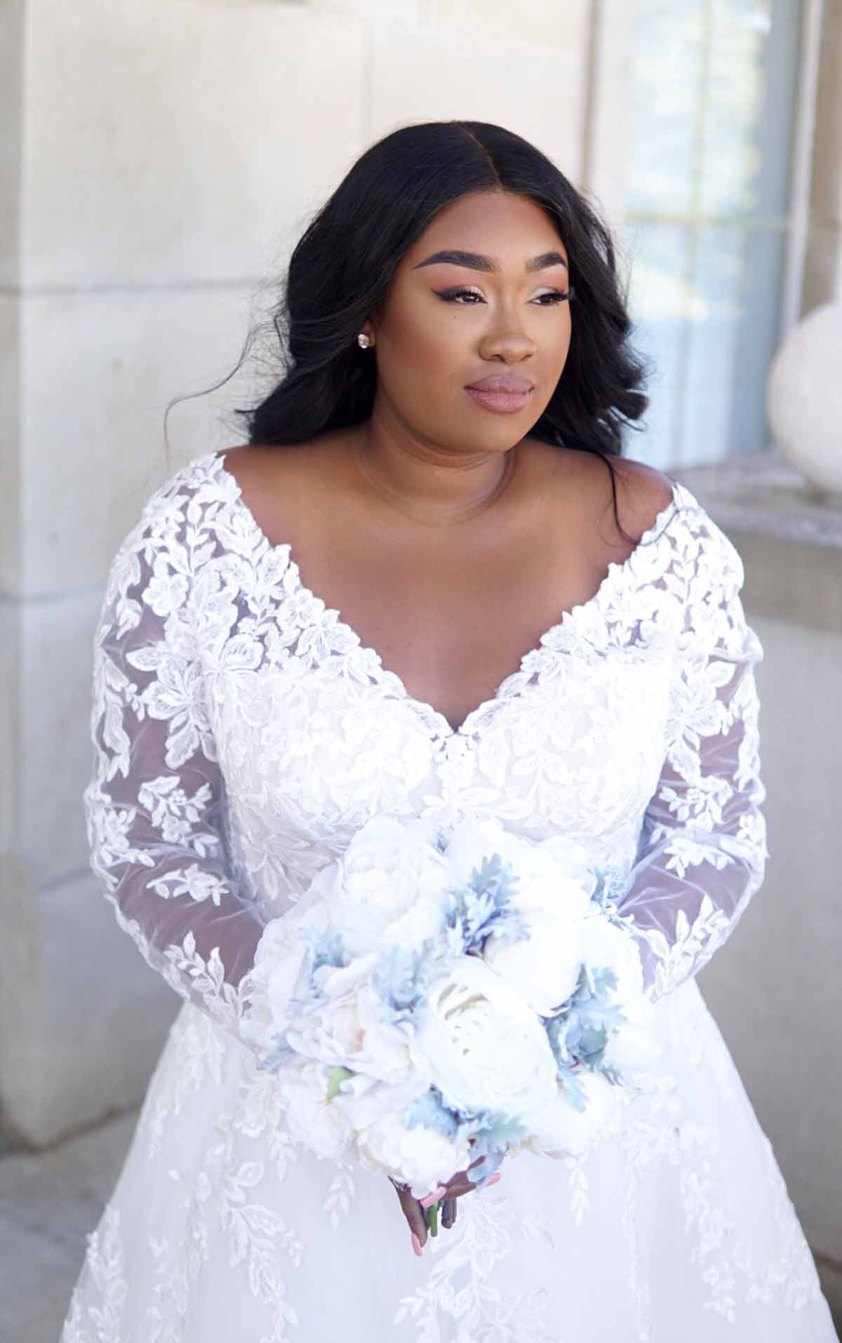 Romantic Lace Plus Size Wedding Dress With Long Sleeves ...