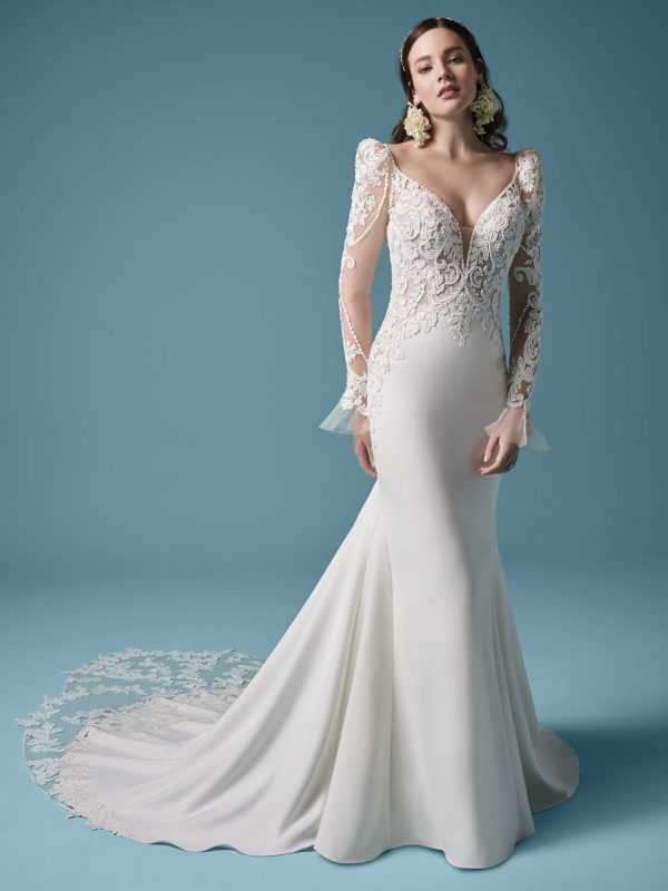 Long Sleeve Mermaid Wedding Dress by Maggie Sottero - Image 2