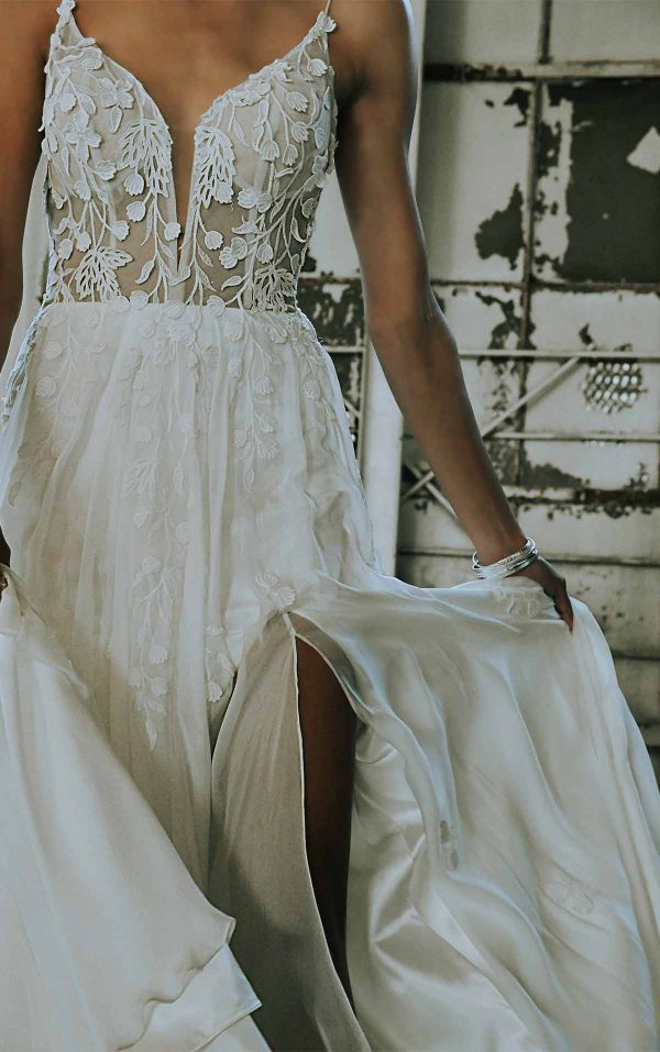 Modern A-line Boho Wedding Dress With Minimalist Straps And Plunging V-neck by All Who Wander - Image 2