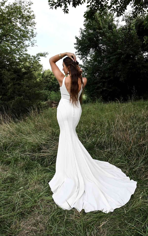 Sleeveless Deep V-neckline Fit And Flare Wedding Dress by All Who Wander - Image 2