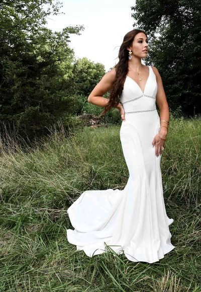 Sleeveless Deep V-neckline Fit And Flare Wedding Dress by All Who Wander