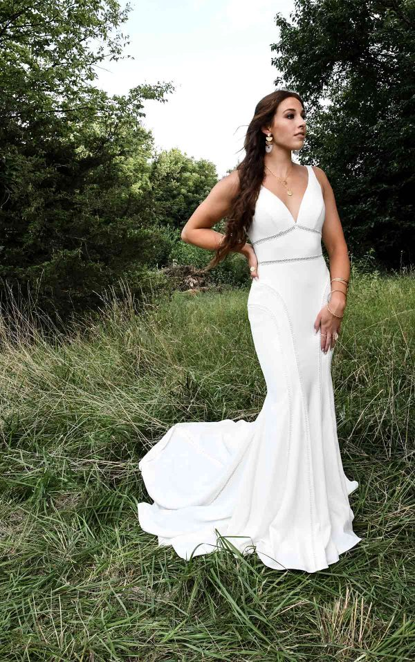 Sleeveless Deep V-neckline Fit And Flare Wedding Dress by All Who Wander - Image 1