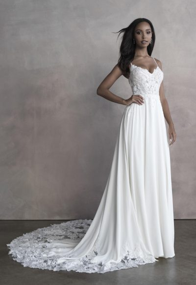 Spaghetti Strap A-line Wedding Dress With Embroidered Lace by Allure Bridals