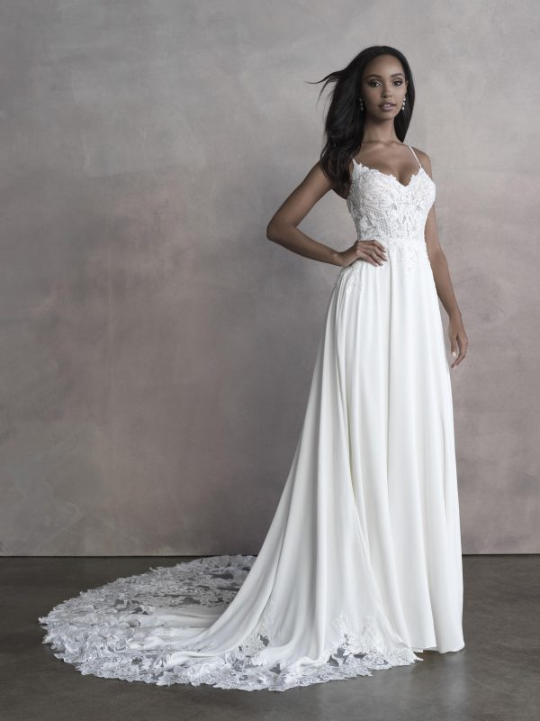 Spaghetti Strap A-line Wedding Dress With Embroidered Lace by Allure Bridals - Image 1