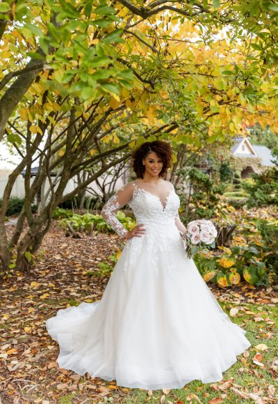 Long Sleeve Illusion A-line Wedding Dress