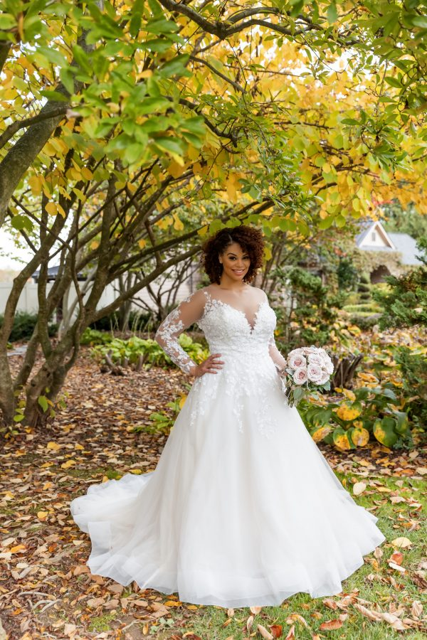 Long Sleeve Illusion A-line Wedding Dress by Danielle Caprese - Image 1