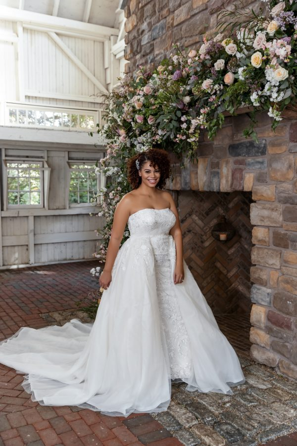 Strapless Beaded Sheath Wedding Dress With Overskirt by Danielle Caprese - Image 2